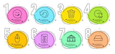 Recovery data, Swipe up and Mini pc signs. Timeline steps infographic. Carousels, Trash bin and Technical info line icons set. Alarm bell, Yummy smile symbols. Attraction park, Garbage. Vector