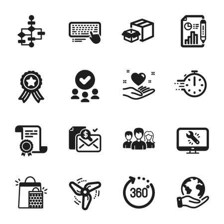 Set of Business icons, such as Block diagram, Computer keyboard. Certificate, approved group, save planet. Accounting report, Shopping bags, 360 degrees. Vector