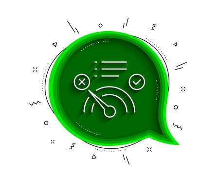 Reject bandwidth meter line icon. Chat bubble with shadow. No internet sign. Speedometer symbol. Thin line no internet icon. Vector