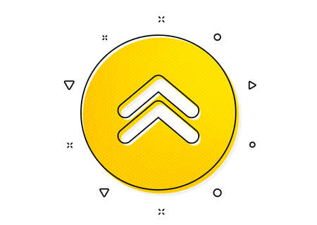 Scrolling arrow sign. Swipe up button icon. Landing page scroll symbol. Yellow circles pattern. Classic swipe up icon. Geometric elements. Vector Ilustração