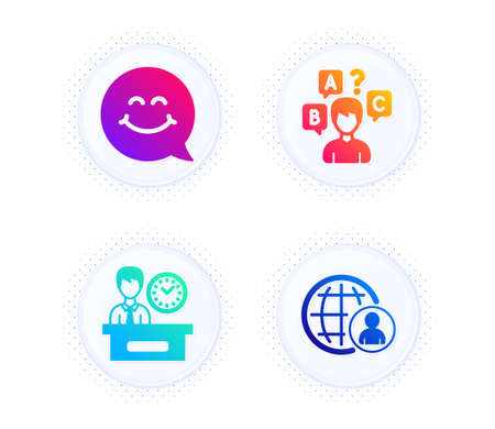 Presentation time, Smile face and Quiz test icons simple set. Button with halftone dots. International recruitment sign. Report, Chat, Interview. World business. People set. Vector