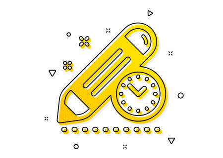Time management sign. Project deadline icon. Clock symbol. Yellow circles pattern. Classic project deadline icon. Geometric elements. Vector