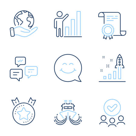 Graph chart, Development plan and Ranking star line icons set. Diploma certificate, save planet, group of people. Ship, Smile face and Chat messages signs. Vector