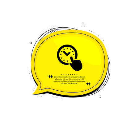 Time management icon. Quote speech bubble. Clock sign. Watch symbol. Quotation marks. Classic time management icon. Vector