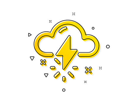 Thunderbolt with cloud sign. Thunderstorm weather icon. Bad day symbol. Yellow circles pattern. Classic thunderstorm weather icon. Geometric elements. Vector