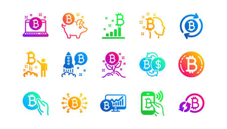Blockchain, Crypto ICO and Cryptocurrency. Bitcoin icons. Mining classic icon set. Gradient patterns. Quality signs set. Vector Ilustracja