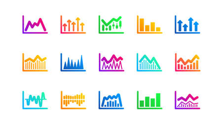 Candlestick graph, Infochart and Report diagram. Charts and graphs icons. Presentation classic icon set. Gradient patterns. Quality signs set. Vector
