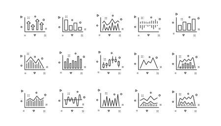 Candlestick graph, Infochart and Report diagram. Charts and graphs line icons. Presentation linear icon set. Geometric elements. Quality signs set. Vector