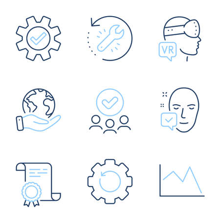 Augmented reality, Recovery tool and Recovery gear line icons set. Diploma certificate, save planet, group of people. Line chart, Face accepted and Service signs. Vector