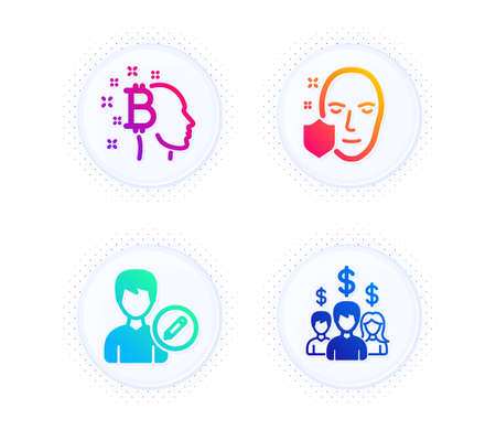 Face protection, Edit person and Bitcoin think icons simple set. Button with halftone dots. Salary employees sign. Secure access, Change user info, Cryptocurrency head. People earnings. Vector