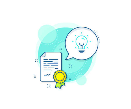 Lightbulb sign. Certification complex icon. Energy line icon. Electric power symbol. Certificate or diploma document. Energy sign. Vector