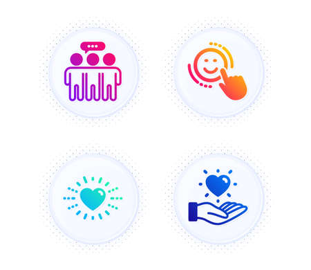 Heart, Employees group and Smile icons simple set. Button with halftone dots. Hold heart sign. Love, Collaboration, Positive feedback. Love brand. People set. Gradient flat heart icon. Vector Stock Illustratie