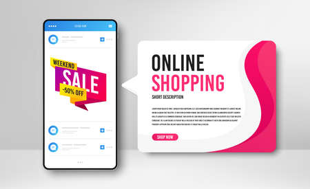 Phone banner template. Weekend sale 50% off badge. Discount banner shape. Hot offer icon. Social media banner with smartphone screen. Online shopping web template. Weekend sale promotion badge. Vector