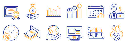 Set of Finance icons, such as Loan percent, Businessman case. Certificate, save planet. Diagram chart, Hot loan, Bar diagram. Atm, Income money, Graph chart. Vector
