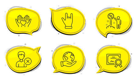 Discount sign. Diploma certificate, save planet chat bubbles. Horns hand, Hold heart and Remove account line icons set. Gesture palm, Friendship, Delete user. Sale shopping. People set. Vector