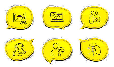 Medical help sign. Diploma certificate, save planet chat bubbles. Dating chat, Bitcoin think and Find user line icons set. People love, Cryptocurrency head, Search person. Medicine laptop. Vector