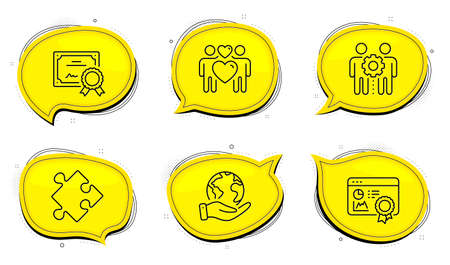 Employees teamwork sign. Diploma certificate, save planet chat bubbles. Strategy, Seo certificate and Love couple line icons set. Puzzle, Statistics, Lovers. Collaboration. Business set. Vector Stock Illustratie