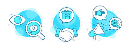 Click hand, New products and Delivery boxes line icons set. Handshake deal, research and promotion complex icons. Energy sign. Direction finger, Search, Birthday gifts. Lightbulb. Business set. Vector 向量圖像