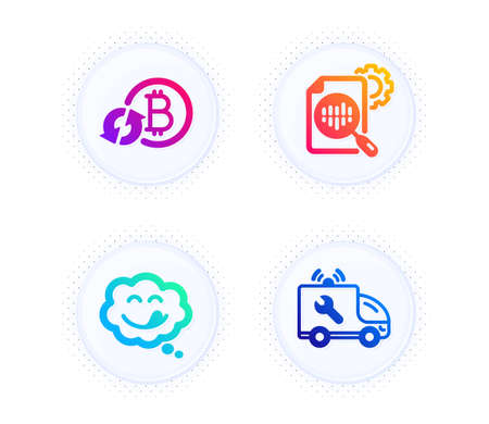 Refresh bitcoin, Yummy smile and Seo stats icons simple set. Button with halftone dots. Car service sign. Update cryptocurrency, Comic chat, Cogwheel. Repair service. Technology set. Vector
