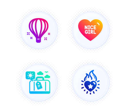 Nice girl, Travel luggage and Air balloon icons simple set. Button with halftone dots. Heart flame sign. Love heart, Trip bag, Sky travelling. Love fire. Holidays set. Vector 向量圖像