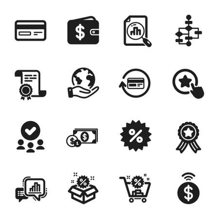 Set of Finance icons, such as Sale, Dollar wallet. Certificate, approved group, save planet. Analytics graph, Refund commission, Graph chart. Block diagram, Dollar money, Discount. Vector