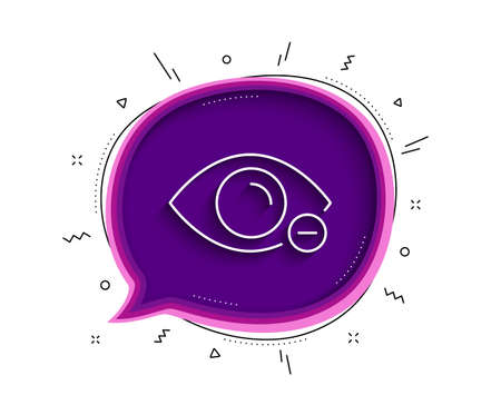 Myopia line icon. Chat bubble with shadow. Eye diopter sign. Optometry vision symbol. Thin line myopia icon. Vector