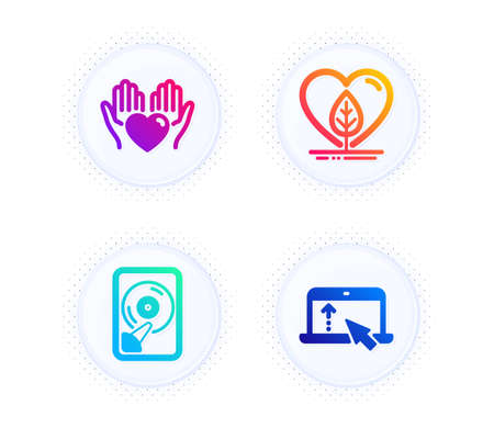Hold heart, Hdd and Local grown icons simple set. Button with halftone dots. Swipe up sign. Care love, Memory disk, Organic tested. Scroll screen. Business set. Gradient flat hold heart icon. Vector  イラスト・ベクター素材