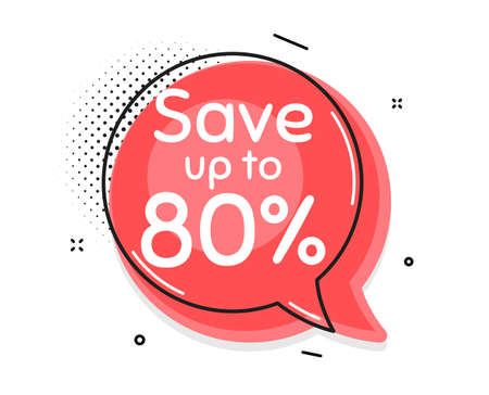 Save up to 80%. Thought chat bubble. Discount Sale offer price sign. Special offer symbol. Speech bubble with lines. Discount promotion text. Vector Vektorgrafik