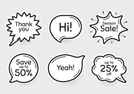 Comic chat bubbles. Season sale, 25% discount and save 50%. Thank you, hi and yeah phrases. Sale shopping text. Chat messages with phrases. Drawing texting thought speech bubbles. Vector