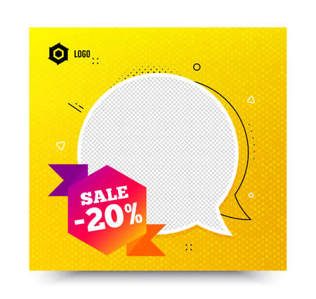 Sale 20 percent off badge. Yellow banner template. Discount banner shape. Coupon bubble icon. Social media banner with chat bubble. Online shopping web template. Sale 20% promotion bubble. Vector