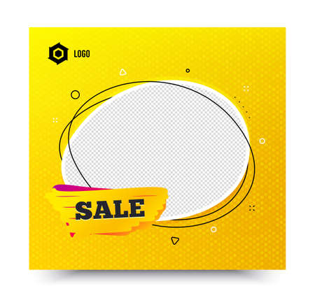 Sale badge. Yellow banner template. Discount banner shape. Coupon tag icon. Social media banner with chat bubble. Online shopping web template. Sale tag promotion bubble. Vector
