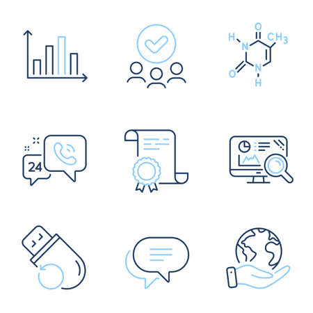 Flash memory, 24h service and Text message line icons set. Diploma certificate, save planet, group of people. Seo analytics, Diagram graph and Chemical formula signs. Vector