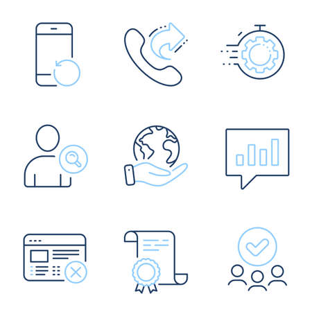 Reject web, Recovery phone and Share call line icons set. Diploma certificate, save planet, group of people. Find user, Analytical chat and Seo timer signs. Vector Ilustração