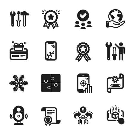 Set of Technology icons, such as Sharing economy, Repairman. Certificate, approved group, save planet. Augmented reality, Smartphone broken, Puzzle. Spanner tool, Cogwheel blueprint, Seo phone. Vector