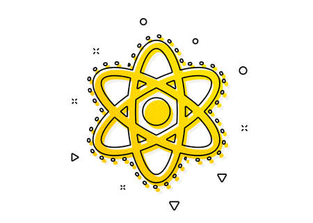 Laboratory molecule sign. Chemistry atom icon. Analysis symbol. Yellow circles pattern. Classic chemistry atom icon. Geometric elements. Vector