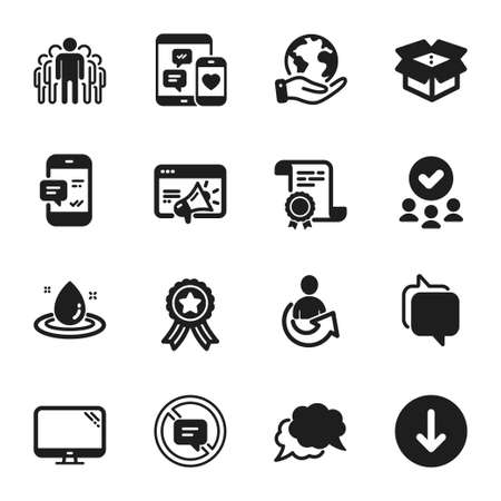 Set of Technology icons, such as Share, Stop talking. Certificate, approved group, save planet. Smartphone notification, Chat message, Seo marketing. Open box, Fuel energy, Computer. Vector Ilustração