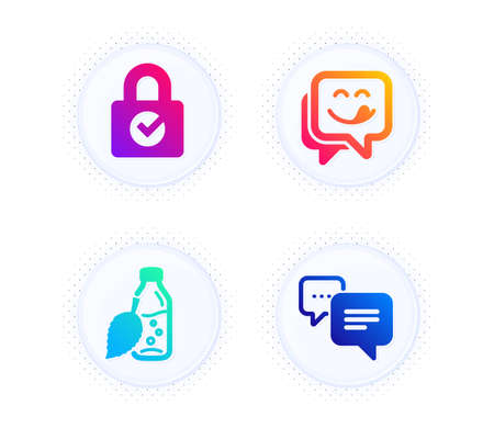 Password encryption, Water bottle and Yummy smile icons simple set. Button with halftone dots. Dots message sign. Protection locker, Mint leaf drink, Emoticon. Chat bubble. Business set. Vector