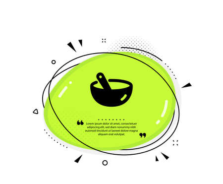 Cooking mix icon. Quote speech bubble. Bowl with spoon sign. Food preparation symbol. Quotation marks. Classic cooking mix icon. Vector Ilustracja