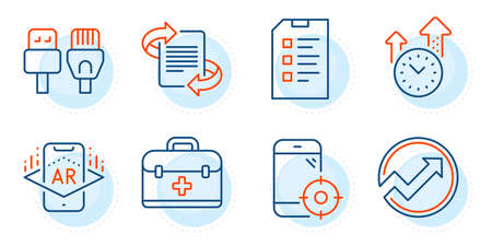 Augmented reality, Time management and Marketing signs. Audit, First aid and Checklist line icons set. Seo phone, Computer cables symbols. Arrow graph, Medicine case. Science set. Vector Ilustração