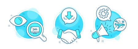 Airplane travel, Download and Seo gear line icons set. Handshake deal, research and promotion complex icons. 24h service sign. Trip flight, Load file, Cogwheel. Call support. Business set. Vector Ilustração
