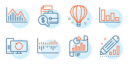 Air balloon, Edit statistics and Column diagram signs. Investment graph, Accounting report and Report document line icons set. Recovery computer, Histogram symbols. Outline icons set. Vector