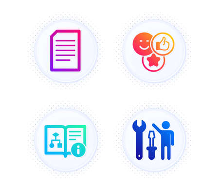 Document, Like and Technical algorithm icons simple set. Button with halftone dots. Repairman sign. Information file, Social media likes, Project doc. Repair screwdriver. Technology set. Vector Ilustração