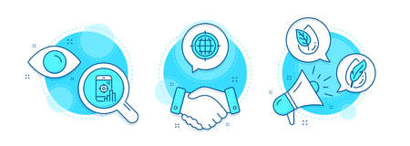 Hypoallergenic tested, Seo phone and Organic product line icons set. Handshake deal, research and promotion complex icons. Seo internet sign. Feather, Search engine, Leaf. Globe. Business set. Vector