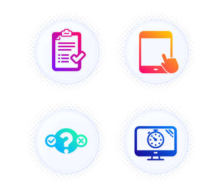 Tablet pc, Approved checklist and Quiz test icons simple set. Button with halftone dots. Seo timer sign. Touchscreen gadget, Accepted message, Select answer. Analytics. Technology set. Vector