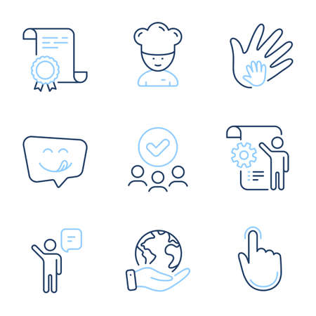 Cooking chef, Hand click and Yummy smile line icons set. Diploma certificate, save planet, group of people. Settings blueprint, Social responsibility and Agent signs. Vector