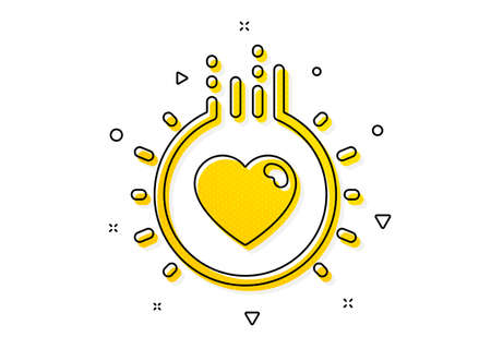 Heart sign. Love icon. Dating profile symbol. Yellow circles pattern. Classic love icon. Geometric elements. Vector