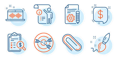 Paper clip, Targeting and Music making signs. Paint brush, Manual document and Payment message line icons set. Accounting report, Documentation symbols. Creativity, Project info. Education set. Vector