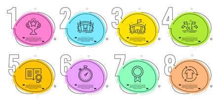 Diploma, Victory and Arena signs. Timeline steps infographic. Reward, Arena stadium and Timer line icons set. Ole chant, Change clothes symbols. Best medal, Sport complex. Sports set. Vector