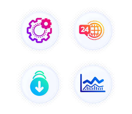 Scroll down, 24h service and Cogwheel icons simple set. Button with halftone dots. Trade infochart sign. Swipe screen, Call support, Engineering tool. Business analysis. Business set. Vector Ilustração