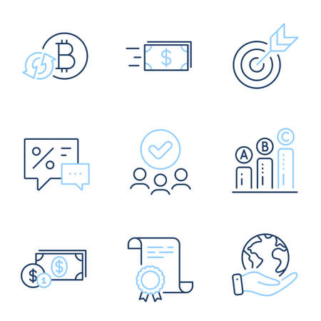 Discounts, Target and Dollar money line icons set. Diploma certificate, save planet, group of people. Money transfer, Refresh bitcoin and Graph chart signs. Vector